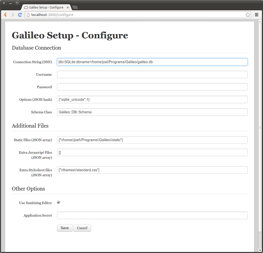Galileo configure page